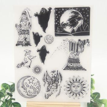 1 sheet DIY Halloween Design Transparent Clear Rubber Stamp Seal Paper Craft Scrapbooking Decoration