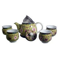 Beautiful Asian Porcelain Tea Set in Yellow - Includes Diffuser and 4 Cups - A Tea Drinkers Delight!