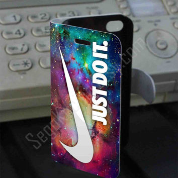 Nike Just Do It Nebula Galaxy PVC (syntetic) Leather Folio Case for iPhone and Samsung Galaxy