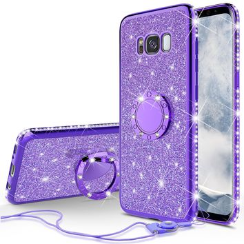 Samsung Galaxy S8 Case, SM-G950 Case, Glitter Cute Phone Case Girls with Kickstand,Bling Diamond Rhinestone Bumper Ring Stand Sparkly Luxury Clear Thin Soft Protective Samsung Galaxy S8 Case for Girl Women - Purple