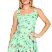 Ready to Roll Turquoise Cadillac Print 50s Dress