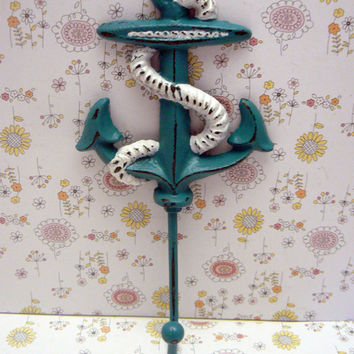 Anchor Hook Nautical Coastal Cast Iron Teal Lagoon Blue Wall Decor Lake Beach House Jewelry Coat Keys Key Leash Hat Towel Mudroom Hook