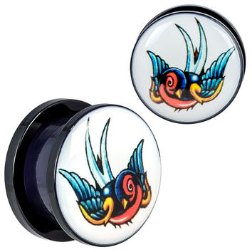 Body Jewelry,Ear Lobe Piercing Plugs,Colorful Left and Right Sparrow Design Screw fit Black Acrylic Ear Plugs,Freedom Plugs BDJ0209