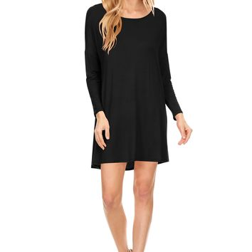 Women's Basic Tunic A-line Casual Short Dress, Long Sleeves, Round Neck, Made In USA