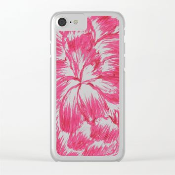 Pink and White Dahlia Clear iPhone Case by Lindsay