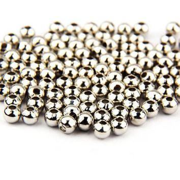 Pack of 200 Tiny Round Silver Metal Beads. 3.5mm Diameter Spacers. 1.5mm Hole. Create Handmade Earrings, Gifts for Mother's Day and Macrame.