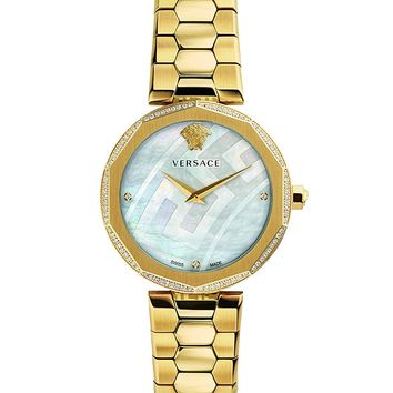 Versace Women's 'IDYIA' Swiss Quartz Stainless Steel and Gold Plated Casual Watch(Model: V17060017)