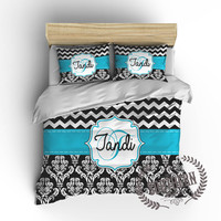 Personalized Chevron, Damask Comforter or Duvet Cover Bedding Set in Turquoise, Black, White