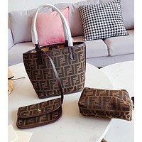 FENDI Newest Women Vintage Handbag Tote Shoulder Bag Satchel Purse Wallet Set Three-Piece