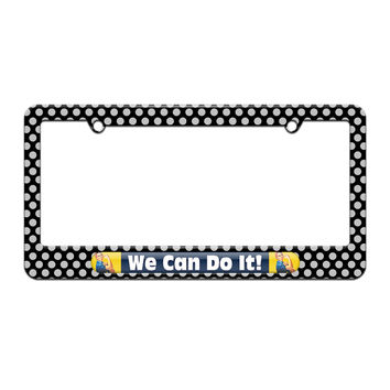 Rosie The Riveter We Can Do It - War Poster - License Plate Tag Frame - Polka Dots Design