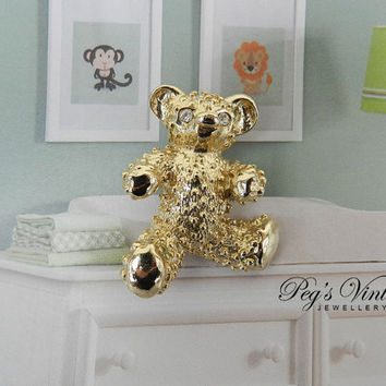 Vintage Gold Teddy Bear Brooch / Pin, Cute Costume Jewelry