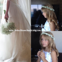 Baby Breath Crown flower girl crowns baby breath Bridal hair, bridal headpiece, Boho headpiece, Fresh Flower Crown,Flower girl crown etsy