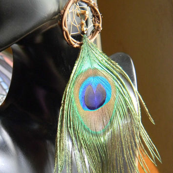 Peacock Dream Catcher Earrings in The Native Inspired Tribal Boho Hippie Hipster Style