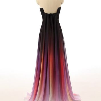 JAEDEN Women's Gradient Chiffon Formal Evening Dresses Long Party Prom Gown