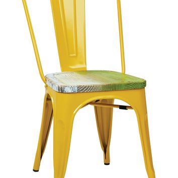 Office Star Yellow/Pine Alice Bristow Metal Chair with Vintage Wood Seat (Set of 2)