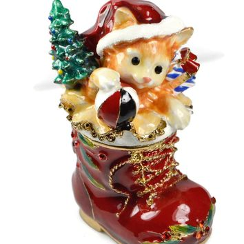 Christmas Stocking with Cat Trinket Box
