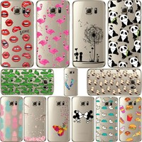 Mickey&Minnie kiss Lips pineapple unicorn Flamingo cactus panda Clear soft silicone cases cover for samsung Galaxy S6 S6 Edge