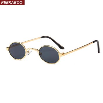 Peekaboo small oval sunglasses men round 2018 metal frame unisex gold black red small sun glasses for women round uv400