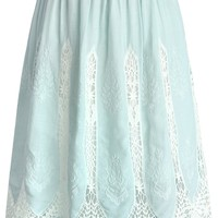 Lovely Vine Crochet Skirt in Baby Blue