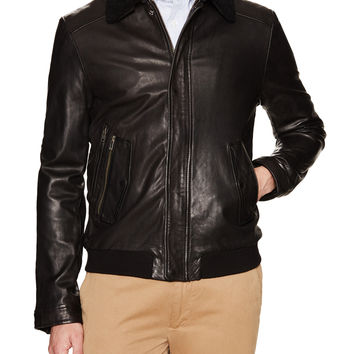 Soia & Kyo Men's Nicolas Leather Bomber Jacket - Black -