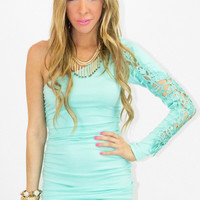 ONE SHOULDER DRESS WITH LACE - Mint