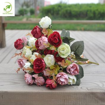 Autumn 21 Heads/Bouquet Small Bud Roses Bract Simulation Flowers Silk Rose Decorative Flowers Home Decorations For Wedding Gifts