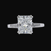 3.61 ct. Radiant & baguette diamonds three stone ring