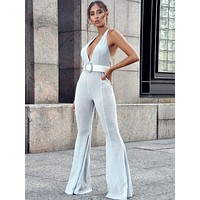 Ready To Go Deep V Halter Neck Metallic Flared Jumpsuit