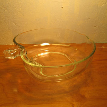 Clear Glass Anchor Hocking Bowl in the Shape of an Apple