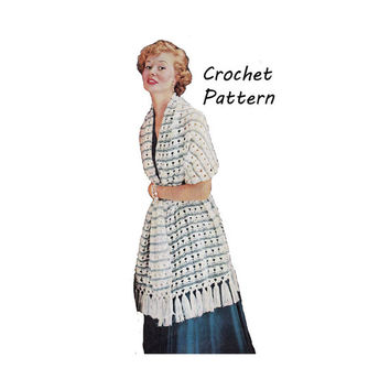 Woman's Two Color Stole, Prayer Shawl, Wrap, Crochet Pattern || Vintage 1950's || Reproduction PDF Instant Download Lucille C158