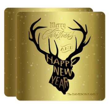 Elegant Deer Antlers Gold Foil Holiday Greetings Card