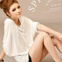 Casual Hooded Hot Sale White Womens Tees : Wholesaleclothing4u.com