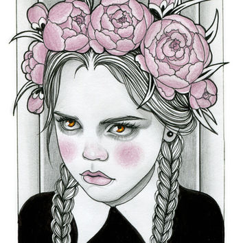 Wednesday Addams Art Print by Rose Ellen Swenson