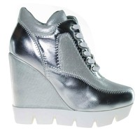 Runway Silver Fabric by Dollhouse, Silver Metallic Lace Up Platform Wedge Sneaker