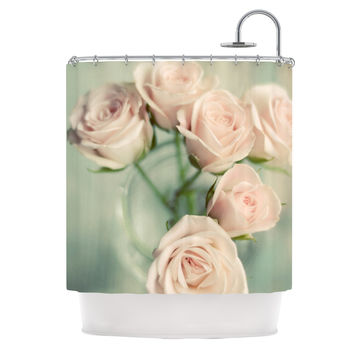 "Cristina Mitchell ""Pink Romance"" Teal Blush Shower Curtain"