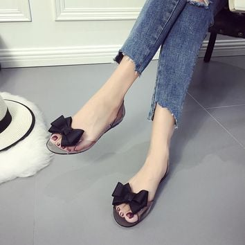 Cute Casual Crystal Open Toe Flat Heel Jelly Shoes Sandal With Bow