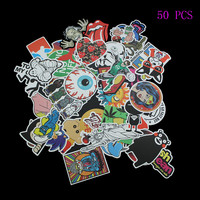 50pcs No Repeat Cartoon Cool Sticker Bomb Waterproof Graffiti Doodle Sticker Skateboard Decal Toy Sticker Hellaflush
