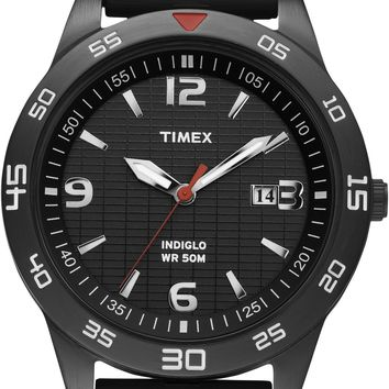 Timex Mens Black Dial Resin Strap Watch