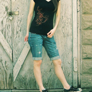 Black womans t-shirt with red orange heart and flower pattern, soft cotton shirt, bleach drawn design, small size