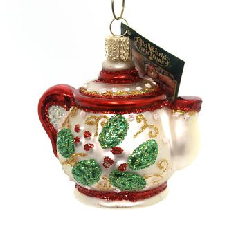 Old World Christmas HOLLY TEAPOT Glass Hot Cup Christmas 32247