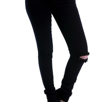 Black Destroyed Knee Jeans