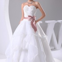 Womens Wedding Dresses Bridal Gown Organza Robe With Sashes