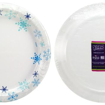"Snowflakes - 10"" Paper Plates - 24-Packs - 12 Units"