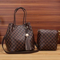 Louis Vuitton LV Fashion Leather Crossbody Shoulder Bag Satchel Set Two Piece