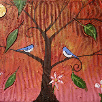 "landscape painting textured wall canvas art sale decor ""Bluebirds"" impasto love birds sculpture pop contemporary tree of life birdhouse"