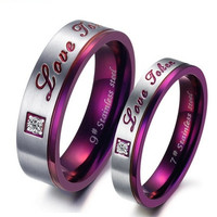 "Elegant Purple Couple ""Love Token"" Rings Wedding Band Crystal Promise Ring = 1930140868"
