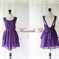 A Party Dress V Shape Style - Cocktail Wedding Bridesmaid Dinner Party Night Dress Powder Purple Deep back Style Gorgeous Dress