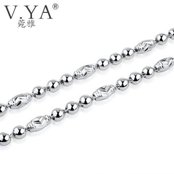 V.YA 100% 925 Sterling Silver Ingot Chain Necklaces for Men 5MM Beads Chain Solid Silver Heavy Thick Chains fit Pendant
