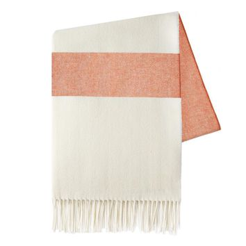 Sydney Herringbone Stripe Throw | Mandarin