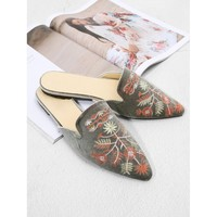 Grey Velvet Pointed Toe Embroidered Mules